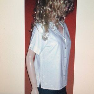 NWT Sag Harbor Linen Short Sleeve White Shirt 12